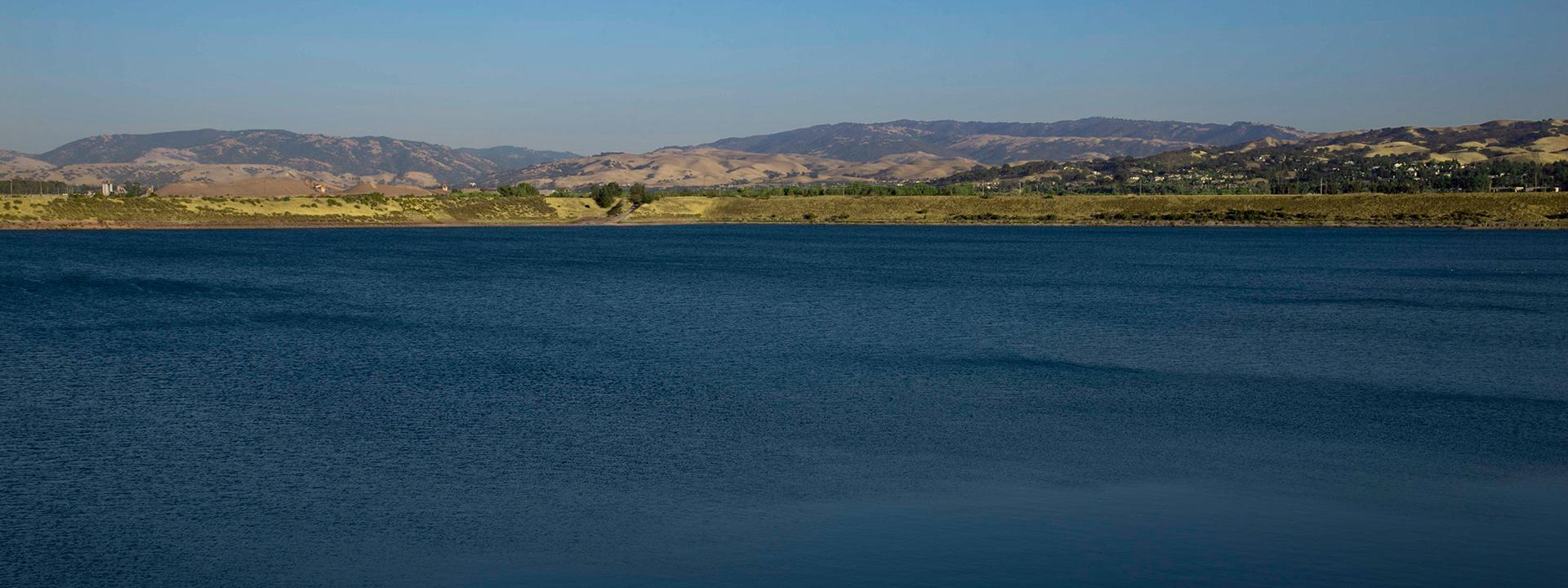 Chain of Lakes with city of Pleasanton and mountains in the background
