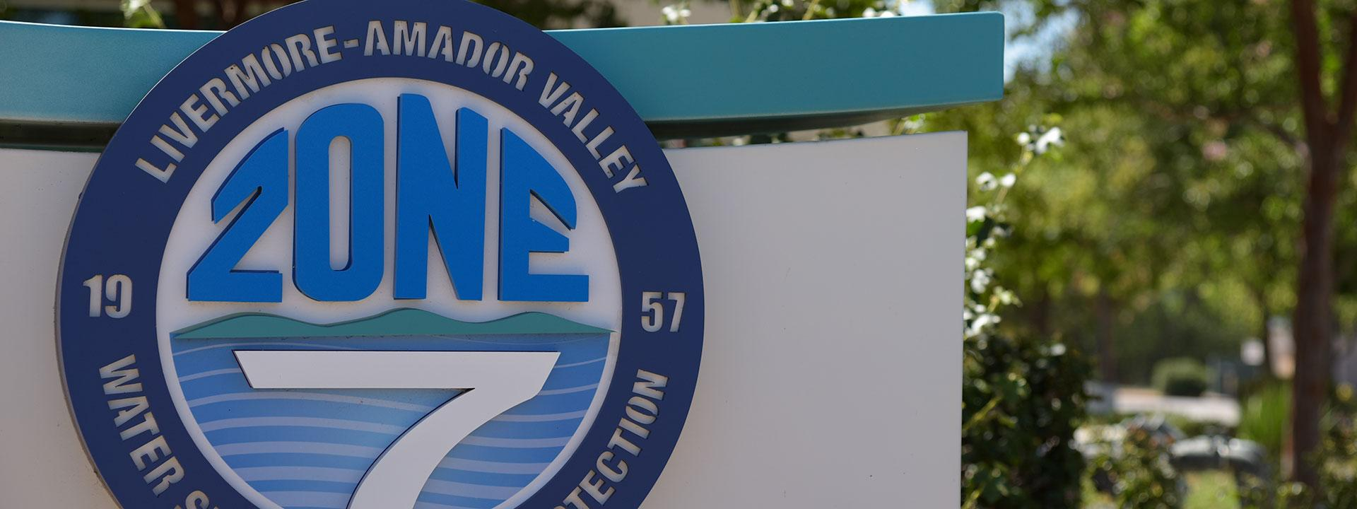 Close up of Zone 7 monument sign