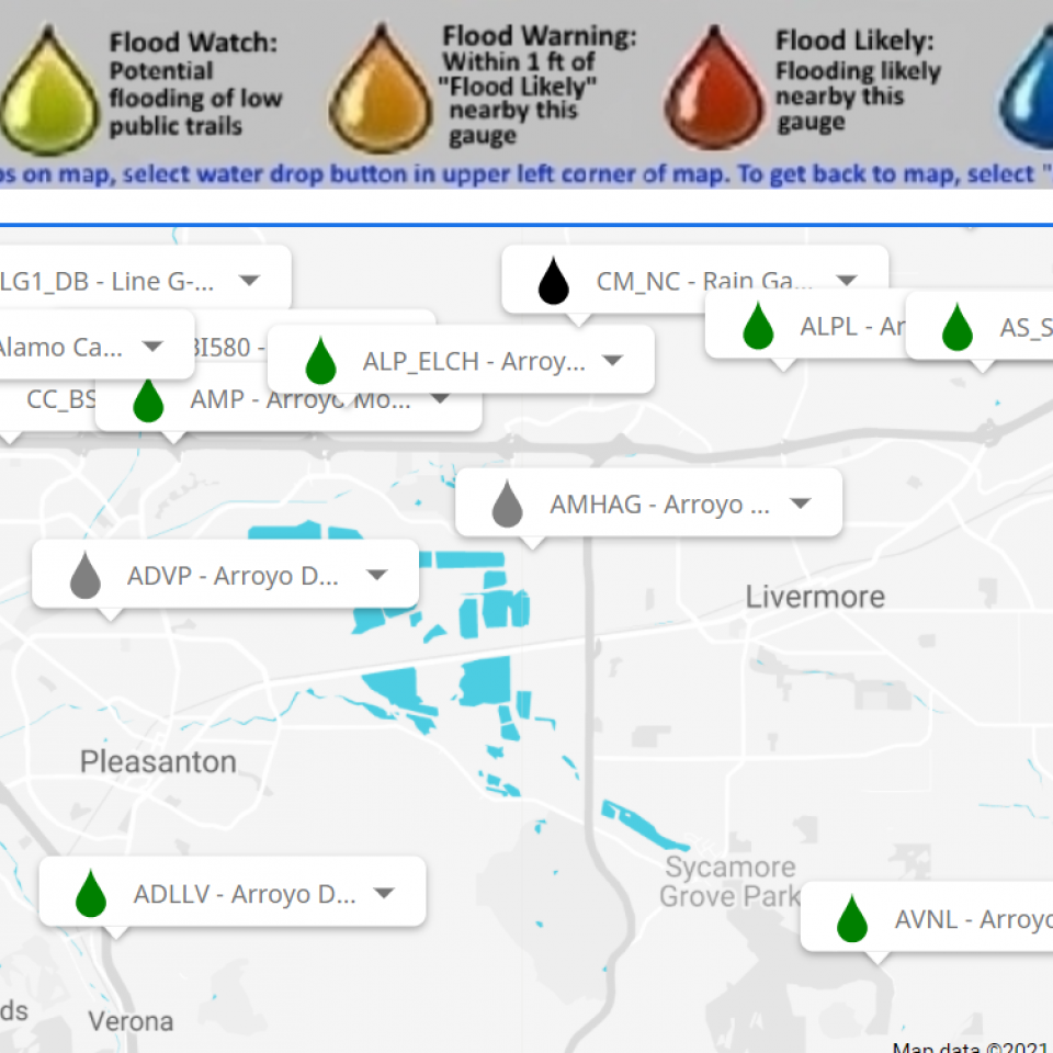 Screenshot of Stream Flow Data from Hydrosphere web application