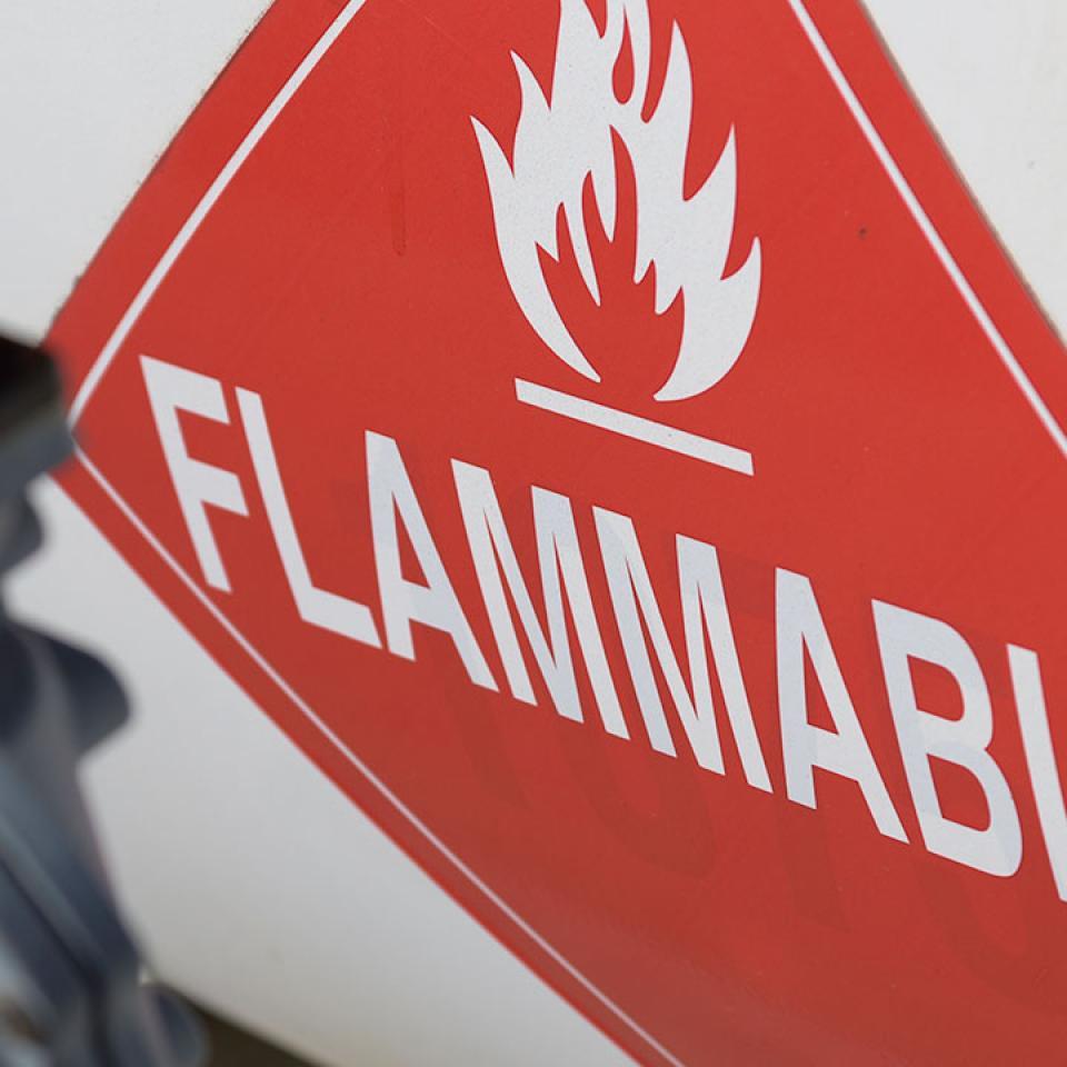 Flammable hazard placard on tank